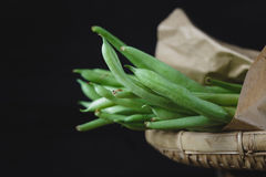 French Beans. On the dark background Stock Photography