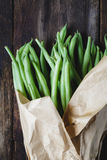 French Beans. On the old wood Royalty Free Stock Photo