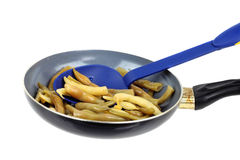 French beans on pan Royalty Free Stock Image