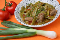 French beans salad with meat. French beans salad with roast beef Royalty Free Stock Photo