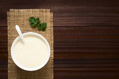 French Bechamel or White Sauce. Homemade French Bechamel or White Sauce served in sauce boat, photographed overhead on dark wood with natural light Selective stock images