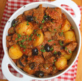 French Beef Stew in Casserole Dish Royalty Free Stock Photos