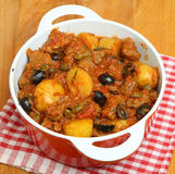 French Beef Stew Casserole with Potatoes and Olives Stock Photo