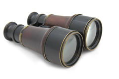 French binocular of 19 century. French binocular of 19th century with leather box. Was popular both by French civilian and the military. With path on white Stock Photography