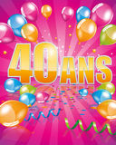 French birthday card 40 years Royalty Free Stock Photos
