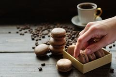 Free French Biscuits Macarons With Coffee Stock Photos - 107561193