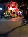 French bistro Montmartre Paris. French Bistro Chez Ginette de la Cote d Azur at night on the hill of Montmartre Paris France stock image