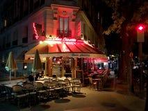 French bistro Montmartre Paris. French Bistro Chez Ginette de la Cote d Azur at night on the hill of Montmartre Paris France stock photo