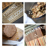 French bistro signs and dishes Royalty Free Stock Photography