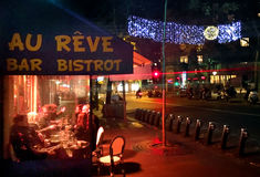 French Bistrot. Au Reve at night in Montmartre Paris France Royalty Free Stock Images