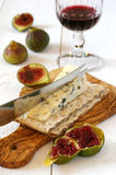 French blue cheese, red wine and ripe figs Royalty Free Stock Photos