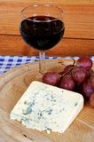French blue cheese with wine. Royalty Free Stock Photo