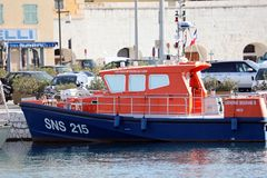 French Blue And Orange Boat Rescuers At Sea Moored In The Port Lympia In Nice stock photos