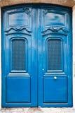 French blue wooden door Stock Photo