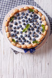 French blueberry cake charlotte on a plate. vertical top view Stock Photography