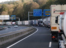 French border truck jam. Royalty Free Stock Images