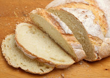 French Boule Bread Loaf. Rustic French 'Boule' loaf, sliced Stock Image