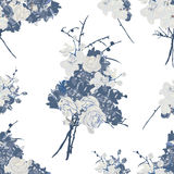French bouquet blue seamless vector pattern Royalty Free Stock Photo