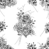 French bouquet contour seamless vector pattern Stock Image