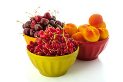 French bowls with fresh fruit Royalty Free Stock Photos