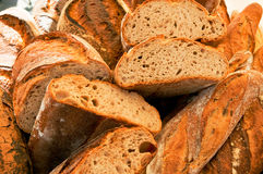 French bread. Fresh french bread food background Royalty Free Stock Photography