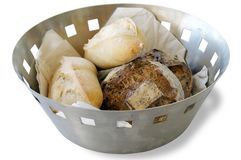 French Bread. Basket with different bread Royalty Free Stock Image
