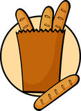 French bread bag. Illustration of a french bread bag Stock Photos