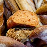 French bread baguettes in wooden box. Royalty Free Stock Image