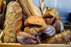 French bread baguettes in wooden box. Royalty Free Stock Photos