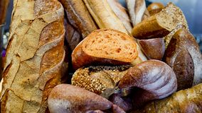 French bread baguettes in wooden box. Royalty Free Stock Images