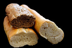 French bread on black Royalty Free Stock Photography