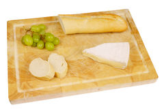 French bread with cheese and grapes Stock Image