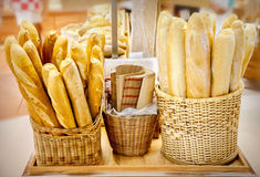 French bread. Closeup of some French baguette bread stock images