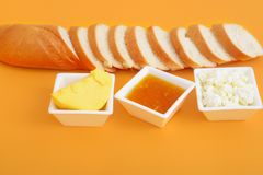 French bread jam cottage cheese and butter stock images