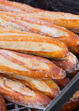 French Bread Loaves at an Outdoor Market. Close up of fresh baked French bread at an outdoor market stock photography