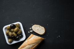 French Bread with Olives Food Background Stock Photography