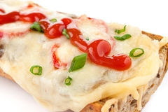 French bread pizza close up royalty free stock images