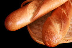 French bread in a straw basket Royalty Free Stock Photography