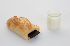 French break, baguette with chocolate and yogurt Stock Images
