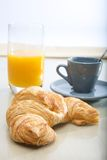 French breakfast. Coffee and croissant and cup of coffee Royalty Free Stock Photography