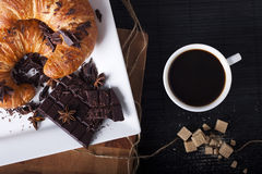 French Breakfast. Coffee with Croissant and Chocolate. Photo Stock Image