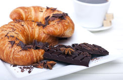 French Breakfast. Coffee with Croissant and Chocolate. Photo Royalty Free Stock Images