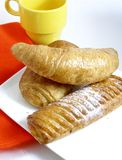 French breakfast. With croissants and drink royalty free stock photo