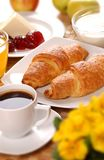 French breakfast. With pastry and coffe Royalty Free Stock Photos