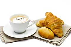 French breakfast. Coffee, croissant, pastries Royalty Free Stock Photography