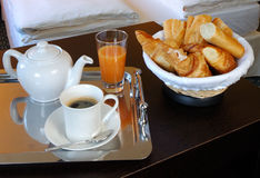 A french breakfast. Served into a hotel bedroom at Paris Royalty Free Stock Photography