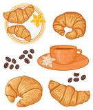 French breakfast. Set of croissants and coffee for french breakfast Royalty Free Stock Photos