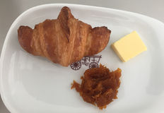 French breakfast with bread and jam.  Stock Photos
