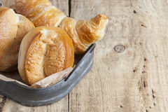 French breakfast buns bread roll and croissant Stock Images