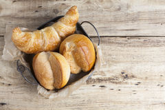 French breakfast buns bread roll and croissant Stock Photos